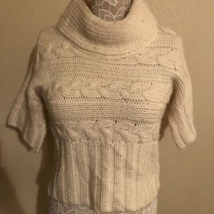 Calvin Klein cropped cable knit cowl neck sweater